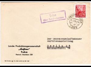 DDR 1959, Landpost Stpl. TOBA über Sondershausen auf LPG Brief m. 20 Pf.
