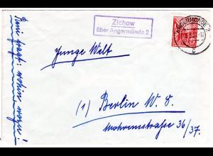 DDR 1956, Landpost Stpl. ZICHOW über Angermünde auf Brief m. 20 Pf.