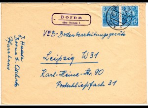 DDR 1957, Landpost Stpl. BORNA über Oschatz auf Brief m. 2x10 Pf.