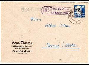 DDR 1949, Landpost Stpl. OBERSCHINDMAAS über Glauchau auf Brief m. EF 16 Pf.