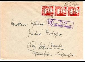DDR 1949, Landpost Stpl. 10 PIRK über Oelsnitz auf Brief m. MeF 3x8 Pf.