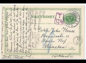 """Schweden Bayern 1911, 5 öre Ganzsache m. """"T"""" u. Portokontrolle München. #971"""