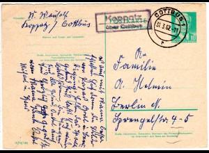 DDR 1962, Landpost Stpl. Koppatz über Cottbus auf 10 Pf. Ganzsache