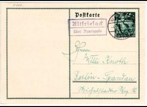 DR 1938, Landpost Stpl. ALTFRIESACK über Neuruppin auf 6 Pf. Ganzsache