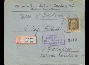 Bayern 1915, Einschreiben Brief v. Otterberg n. NL m. Ludwigshafen Zensur #2685