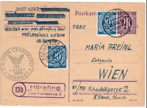1946, Landpost Stpl. 13b HÖRAFING über Freilassing auf Zensur Ganzsache n. Wien