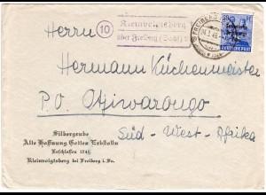 SBZ 1949, Landpost Stpl. 10 KLEINVOIGTSBERG über Freiberg auf Brief n. SW-Afrika