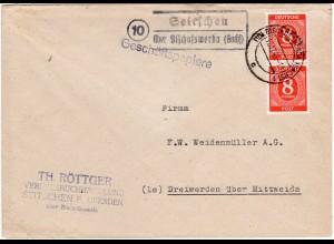 1946, Landpost Stpl. 10 SEITSCHEN über Bischofswerda auf Brief m. 2x8 Pf.
