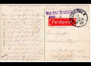 Bayern 1915, Feldpostkarte v. Res.-Laz. Neuburg Stat. D., Dt.-nationale Farb-AK