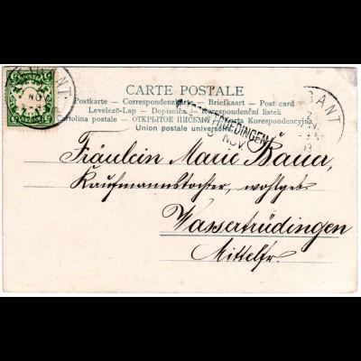Bayern 1903, L2-Aushilfstpl. WASSERTRÜDINGEN als Ank.Stpl. auf Karte v. Geigant