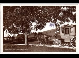 Dietramszell, Ankunft der Post m. Postkutsche, 1931 gebr. sw-AK
