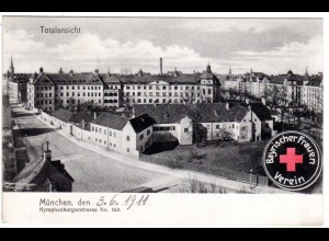 München, Rotes Kreuz Bayr. Frauen Verein Nymphenburgerstr., 1911 gebr. AK