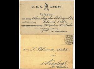 Schweiz 1896, 2 C. auf Karte v. St. Fiden m. Feuerwehr Mann TRC Tablat. #2107