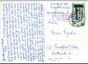 BRD 1957, Landpoststpl. KAPFELBERG über Kelheim auf Karte m. 10 Pf. Europa.