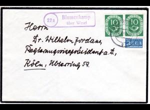 BRD 1953, Landpoststpl. 22a BLUMENKAMP über Wesel auf Brief m. 2x10 Pf.