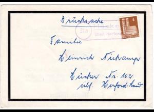 BRD 1951, Landpoststpl. 21a HÜCKER über Herford auf Trauer Brief m. 4 Pf. Bauten