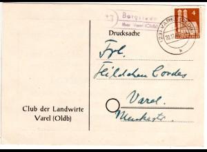 1949, Landpoststpl. 23 BERGSTEDE über Varel auf Karte m. 4 Pf. Bauten
