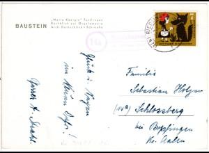 BRD 1960, Landpoststpl. 14b OGGELSHAUSEN über Riedlingen auf Karte m. 7+3 Pf.