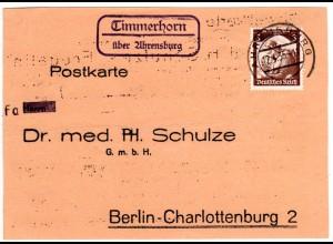 DR 1935, Landpost Stpl. TIMMERHORN über Ahrensburg auf Karte m. 3 Pf.