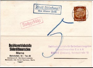 DR 1936, Landpost Stpl. ADOLF HITLERKOOG I über Marne auf Karte m. 3 Pf.