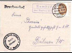 DR 1934, Landpost Stpl. RUMBECK über Arnsberg auf Forst Brief m. 3 Pf. Dienst.