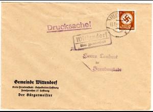 DR 1941, Landpost Stpl. WITTENDORF über Freudenstadt auf Gemeinde Brief m. 3 Pf.