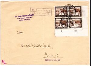DR 1937, Landpost Stpl. HEDERSLEBEN über Eisleben auf Brief m. 4er-Block 3 Pf.