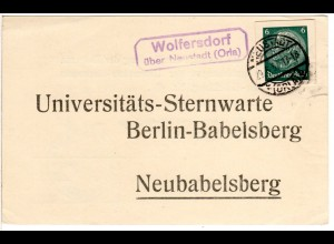 DR 1937, Landpost Stpl. WOLFERSDORF über Neustadt (Orla) auf Karte m. 6 Pf. GAA