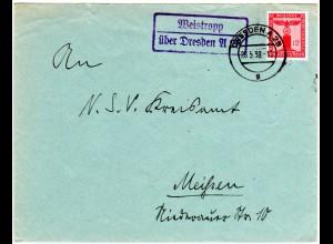 DR 1938, Landpost Stpl. WEISTROPP über Dresden A 21 auf Brief m. 12 Pf. Dienst.