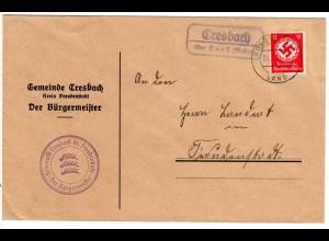 DR 1937, Landpost Stpl. CRESBACH über Horb auf Bürgermeister Brief m. 12 Pf.