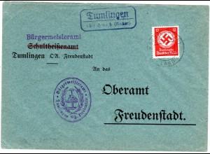 DR 1935, Landpost Stpl. TUMLINGEN über Horb auf Bürgermeister Brief m. 12 Pf.