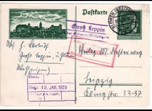 DR 1939, Landpost Stpl. GROSS LEPPIN über Glöwen auf 6 Pf. Bild Ganzsache.