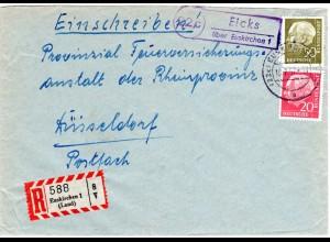1949, Landpost Stpl. 13b EMERSACKER über Augsburg 2 auf Reko Brief m. 60 Pf.