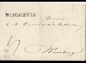 Bayern 1832, L1 WINDSHEIM auf Porto Brief n. Würzburg. #1612