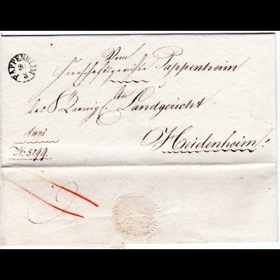 Bayern, Fingerhut Stpl. PAPPENHEIM klar auf schönem Franko Brief n. Heidenheim.