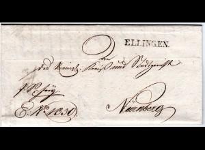 Bayern 1827, L1 ELLINGEN klar auf schönem Franko Brief n. Nürnberg.