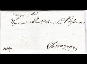 Bayern 1800, L1 V. ANSPACH klar auf sehr schönem Porto Brief n. Obernzenn.