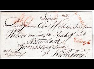 Bayern 1809, roter L1 ANSBACH R.3. u. Chargé klar auf Reko Brief n. Nürnberg.