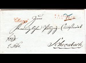 Bayern 1808, roter L1 R.3. ANSBACH u. Chargé klar auf Franko Brief n. Schwabach.