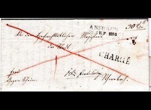 Bayern 1835, L2 ANSBACH u. CHARGÉ klar auf Franko Brief n. Schwabach.