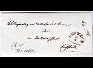 Bayern 1841, HKS ANSBACH u. Chargé sowie Nach Abg. auf Brief n. Eichstädt.