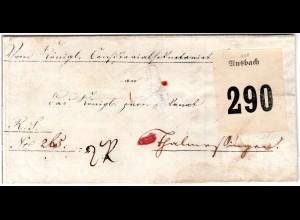 """Bayern 1876, Paketbrief m. großem Zettel """"aus Ansbach"""""""