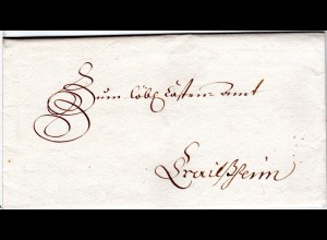 Bayern 1760, gesiegelter Faltbrief v. ANOLZBACH (Ansbach) n. Crailsheim