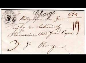 Bayern 1841, Fingerhut Stpl. LANGENFELD u. Chargé auf Porto Brief v. Mkt. Bibart