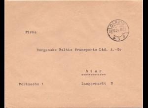 """Danzig a 1e 1934, portofreier Brief """" Postsache """". Rücks. Amtssiegel. #60"""