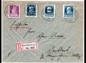 Bayern 1920, Reservestpl. WASSERTRÜDINGEN R auf Einschreiben Brief m. 4x20 Pf.