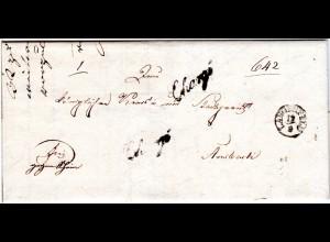Bayern 1846, Fingerhut Stpl. LANGENFELD u. 2x Chargé auf Brief n. Ansbach.