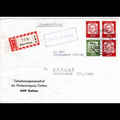 BRD 1962, Landpost Stpl. 2419 ZIETHEN auf Einschreiben Brief m. 10+3x20 Pf