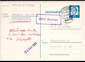 BRD 1963, Landpost Stpl. 8939 BRONNEN auf 15 Pf. Ganzsache v. Buchloe