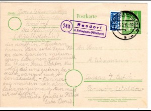 BRD 1951, Landpost Stpl. 24b ROSDORF üb. Kellinghusen auf 10 Pf. Ganzsache
